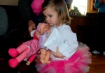 She tried to carry around all of her new dolls and her new underwear all at once!