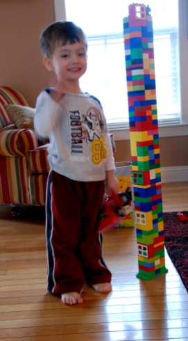 Charlie was so excited that we built a tower that was taller than him!