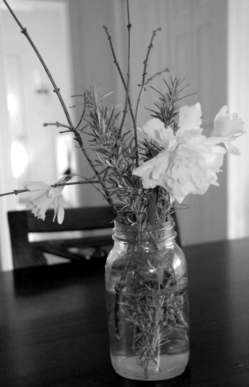 We picked some buttercups.  Paired with rosemary, they really brighten up my kitchen.