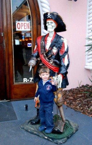 We went to Broadway at the Beach Saturday night and had dinner at the Key West Grill.  There were pirates everywhere so Charlie loved it!