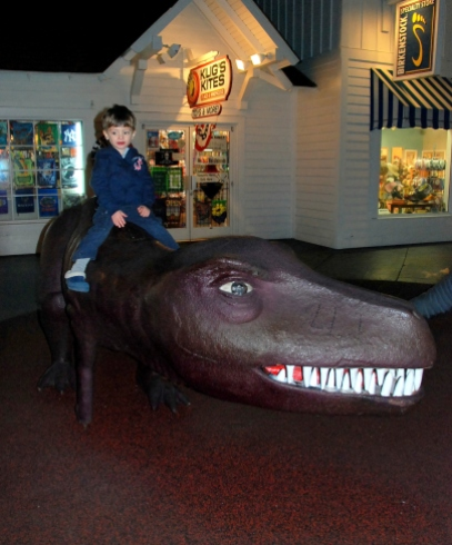 Charlie on a T-Rex.