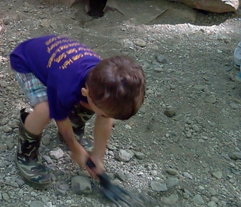 Digging for fossils.