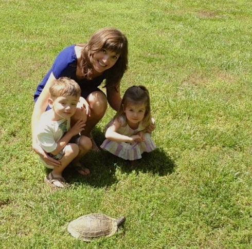Me and my little blessings!  We found this turtle in our yard when we got home from church.