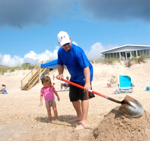 Jason spent a LOT of time digging holes on the beach!  The kids love it!