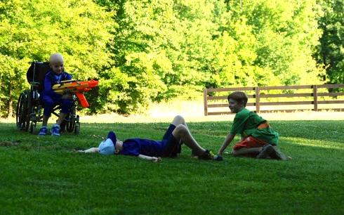 Sam shooting down Aaron and Nick.
