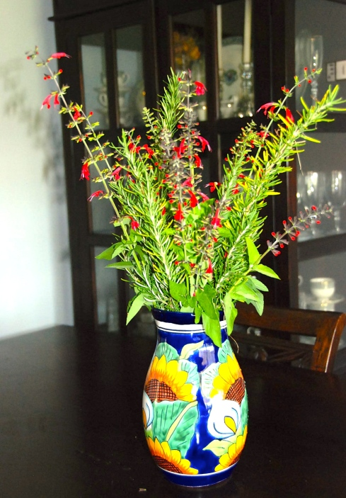 I am not sure what this red flower is, but it actually comes back every year.  I added some rosemary.  We got this vase in Tijuana several years ago.