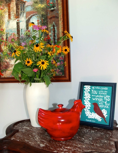 This is a mix of zinnias, cosmos, mexican sunflowers, and black-eyed susans.