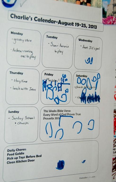 Charlie's calendar-he's a busy boy!