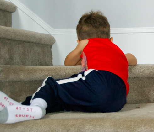 He began his tantrum on the stairs.