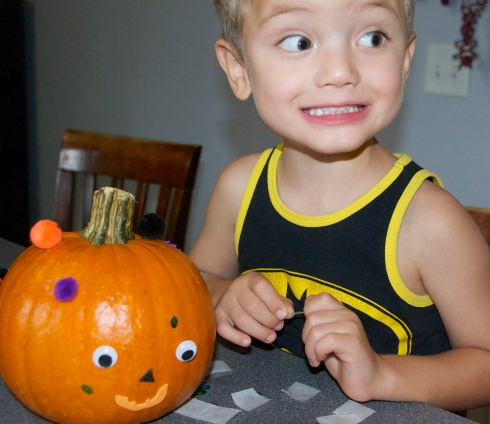 Charlie and his pumpkin.