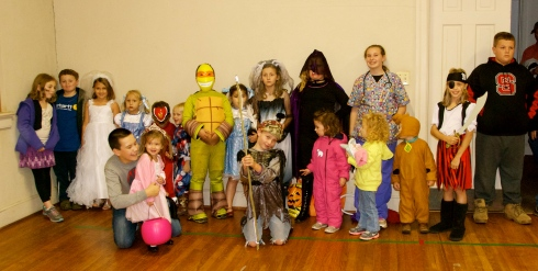 Some of the kids dressed up after trunk-or-treating.