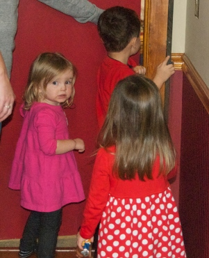 Getting ready to go into Papa's bedroom where the presents are waiting.
