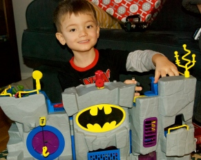 "Charlie and his bat cave from Santa. He was so excited on Christmas morning-he busted out of his room and yelled, ""Santa came!"""