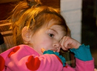 Maddie at Eddie's on the day after Christmas-she was pretty worn out by this point!