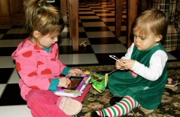 Maddie and Addison playing at Eddie's.