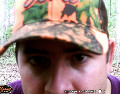 Jason has been doing a LOT of hunting this fall.  This pic was taken by his deer cam. Hahahahaha!