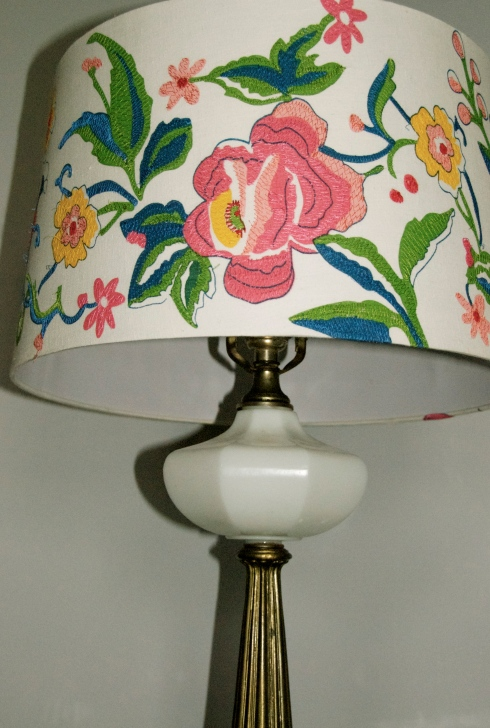 I love this lampshade in my living room!  So colorful.
