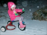 Nothing can stop Maddie on her tricycle!