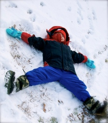 Making a snow angel!