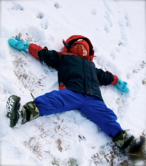 Making a snow angel!
