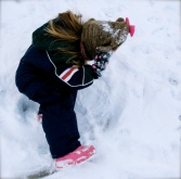 I didn't get any good pics of Madster, but this is her getting up from making her snow angel.