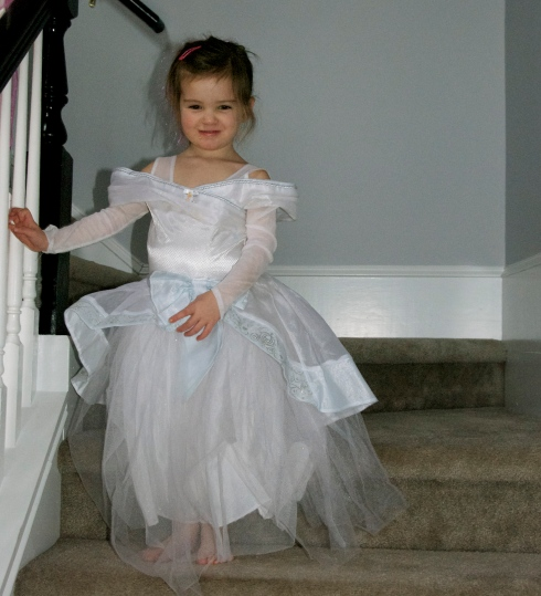 Maddie in her Cinderella gown, coming down for her party.  Isn't she beautiful?
