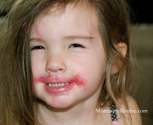 Maddie was glad to put on some lipstick.