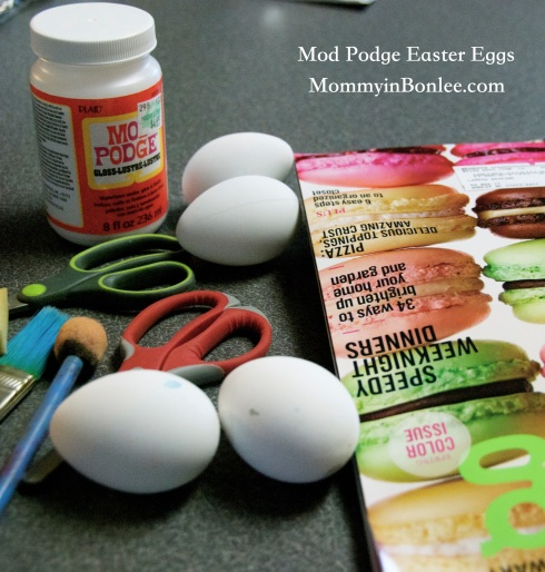 All you need are some old magazines, scissors, sponges or paint brushes, Mod Podge, and some eggs.  I had these white plastic eggs, but you could use any plastic eggs or even real eggs.