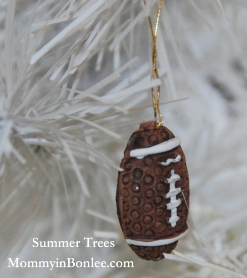 And a football ornament for Charlie's tree.  These were actually on his Christmas tree, but he wanted to keep them for his summer tree, too.
