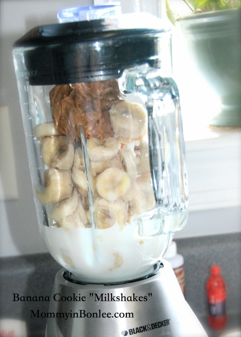 Add about 3 frozen bananas, 1/2 cup of cookie butter, and some milk.